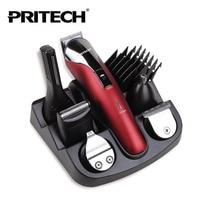 PRITECH Brand Professional Hair Clipper 6 In 1 Hair Trimmer Shaver Sets Professional Titanium Hair Trimmer
