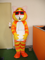 hot sale glasses king cute Tiger mascot costume carnival fancy dress animal catoon free shipping