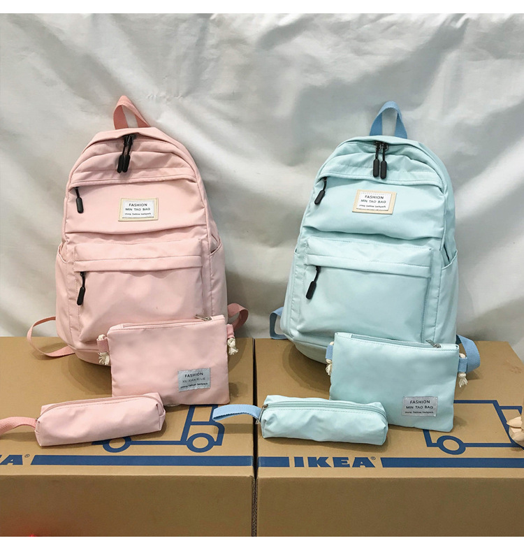 HTB1vld0SrrpK1RjSZTEq6AWAVXaQ Fashion Backpack Women Backpack 3 PCS set Students shoulder Bags bagpack Candy Colour Junior High school bags for teenage girls