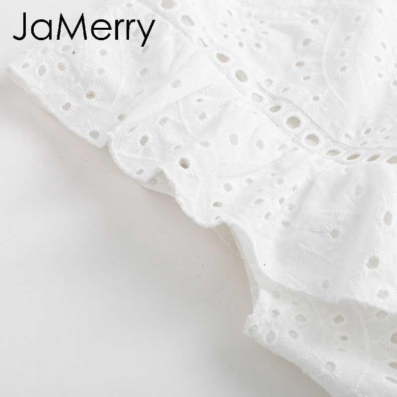 JaMerry Vintage élégant blanc évider femmes débardeur hauts ébouriffés vacances hauts taille haute été décontracté femme couverture en coton 2019