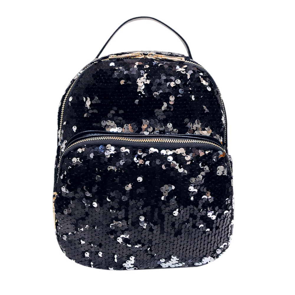 Shinny Sequins Student School Packpack PU Leather Shoulder Satchel Travel Unisex Rucksack Carrier Glitter Zipper Back Packs sale