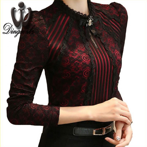 Dingaozlz Lace Chiffon Shirt Women Clothing Blusas Femininas Blouses & Shirts New Fashion Women tops Women Crochet Blouse 3XL