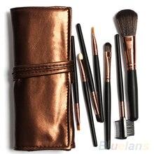7Pcs Blush Eyebrow Eyeshadow Brushes Set Cosmetic Makeup Tools Kit Case Bag 8TPR
