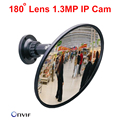Espelho câmera IP Fisheye 180 graus CCTV Camara De Vídeo IP HD 960 p 1.3mp onvif ip network camera motion detectar câmera grande angular