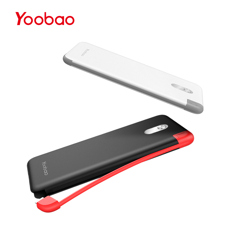 Yoobao S5K 5000mAh Built-in Cable Power Bank External Battery Ultra Thin Portable Charger for Mobile Phone Powerbank Samsung