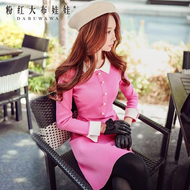 original sweater dress 2016 autumn and winter womens new peter pan collar slim knit dresses pink doll