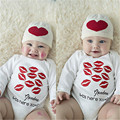 2016 New Arrival Baby Bodysuit Cotton Newborn Infant Baby Boy Girls Bodysuit Long Sleeve Red Mouth Kiss Clothes Outfits