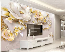 Beibehang Modern minimalist 3D wallpaper three-dimensional embossed peony new Chinese TV background wall murals 3d