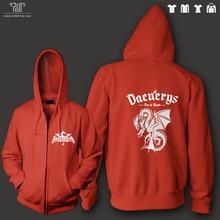 Game of thrones targaryen sigil daenerys men unisex zip up hoodie sweatershirt 100% 82% cotton fleece inside Free Shipping