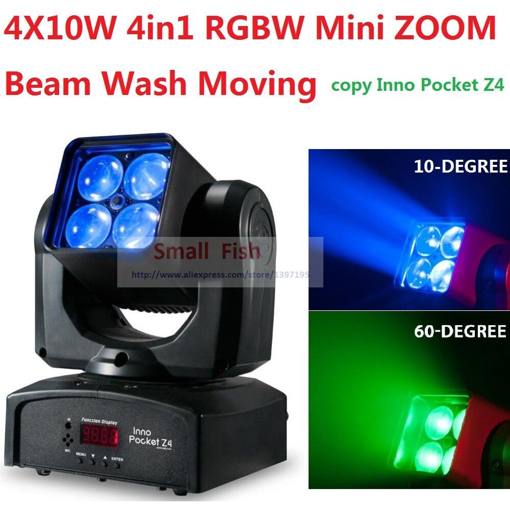2017 ADJ Inno Pocket Mini ZOOM Moving Head Light 4x10W 4in1 RGBW 10-60 Degree Beam Wash Stage Effect Disco DMX KTV Club Lights