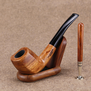 New Rosewood Smoking Pipe Set Baseball Bat Design Presser for Tobacco Pipes 9mm Filter Handmade Wood Pipe Wood Stand(China)