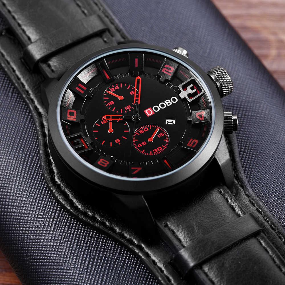 Luxury ยี่ห้อ DOOBO Mens นาฬิกาทหารกีฬานาฬิกาผู้ชายนาฬิกาควอตซ์นาฬิกาวันที่นาฬิกานาฬิกาข้อมือหนัง Casual นาฬิกา Relogio Masculino 8225