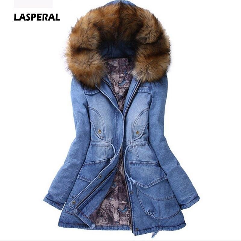 Lasperal Model Denim Jacket Girls's Fur Collar Coat Lengthy Parka Heat Cotton Fleece Hoody Outwear Zipper Denim Denims Parka Feminine