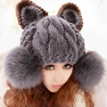 LOVIW Womens Lady's Skullies & Beanies Hat Women Caps Hats Wool knitted Cartoon Design Artificial Fur Cap