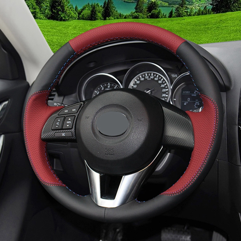 GNUPME Artificial Leather Steering Cover Black Car Steering Wheel Cover for Mazda CX 5 CX5 Atenza 2014 New Mazda 3 CX 3 2016