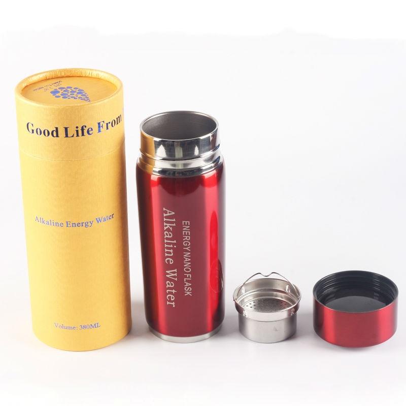 Sağlam qələvi su şüşəsi 380ML cüt filtr 4 rəng Nano şüşə enerji flask yüksək PH keyfiyyətidir