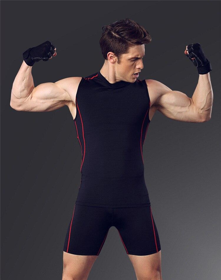 Новая быстросохнущая Бодибилдинг компрессия майка без рукавов рубашка для мужчин фитнес тренировки майка Топы майка Одежда для упражнений