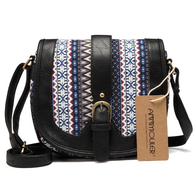 Women Shoulder Sling Bag Vintage Small Bag Pu Leather Patchwork Crossbody Bag Bohemian Style Lady Messenger Bag 1