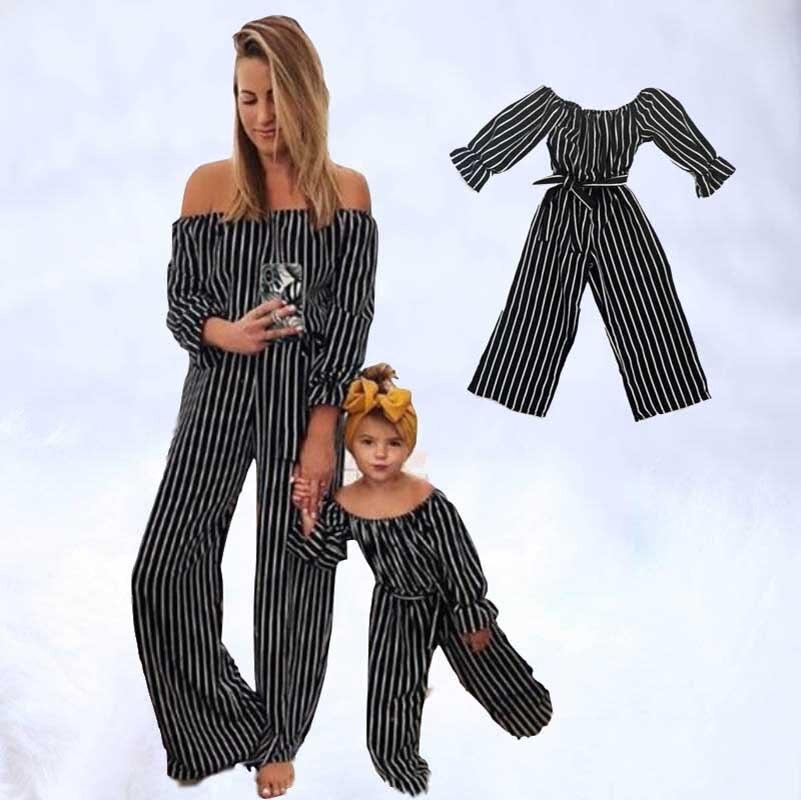 Bébé grande soeur petite soeur enfants décontracté rayé famille vêtements 2019 été correspondant tenues mère fille pantalon maman et