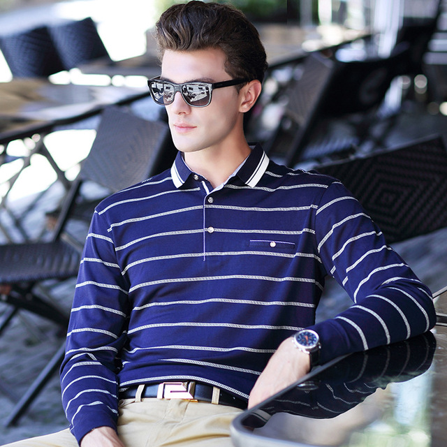 2017 New Men POLO Shirt Stripe Printing Business Casual Shirt High Quality Brand Male Lapel Pullover Long-sleeved POLO Shirt