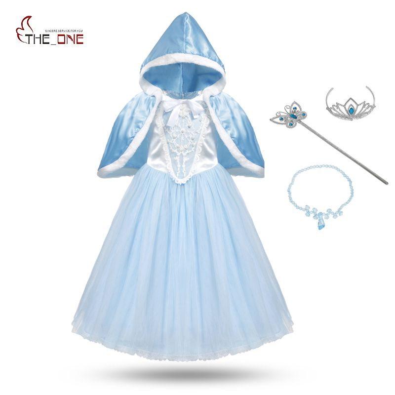 MUABABY Girls Cinderella Cosplay Costume Children Flower Beading Princess Party Dresses Kids Girl Christmas Cape Fantasy Ball new cinderella princess girl dress kids christmas dresses costume for girls party crown necklace fantasia dress kids clothes