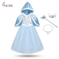 MUABABY Girls Cinderella Cosplay Costume Children Flower Lace Princess Party Dresses Kids Girl Elsa Christmas Cape