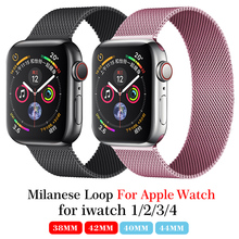 Milanese Loop Strap Stainless Steel Bracelet For Apple Watch Series 4 40mm 44mm Band Wrist Link belt for iwatch 1/2/3 42mm 38mm milanese loop band for apple watch strap 42mm 38mm iwatch 3 2 1 stainless steel link bracelet wrist watchband magnetic buckle