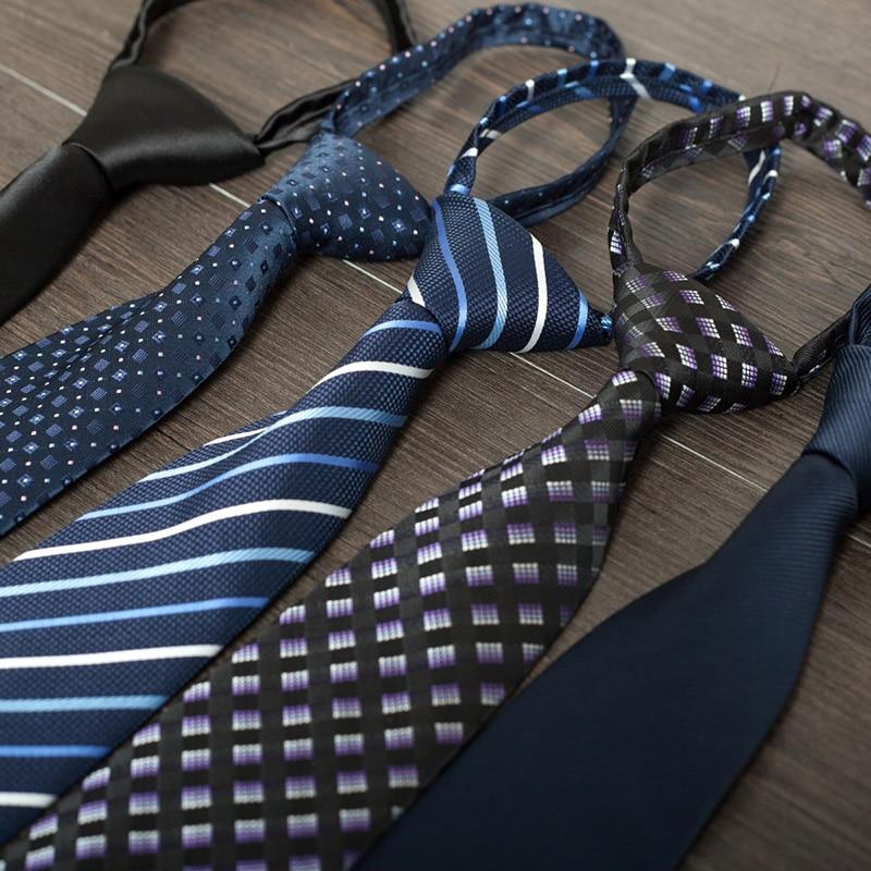 2016 Fashion 8cm Zipper Ties For Men Easy To Tie Men Wedding Business Gravatas Designers Brands Striped Plaid Necktie Corbatas