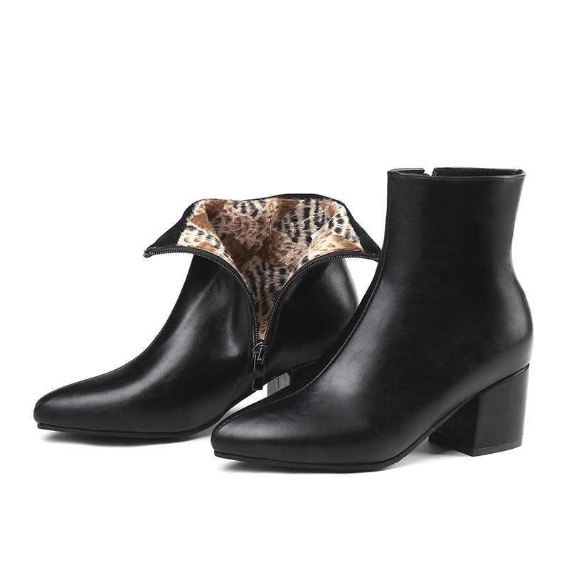 WETKISS Kış Kalın Yüksek Topuklu Kadın Çizmeler Sivri Burun Zip Ayakkabı Kadın Çizme Ayna PU ayakkabıları Kadın 2019 Yeni Artı Boyutu 32-45