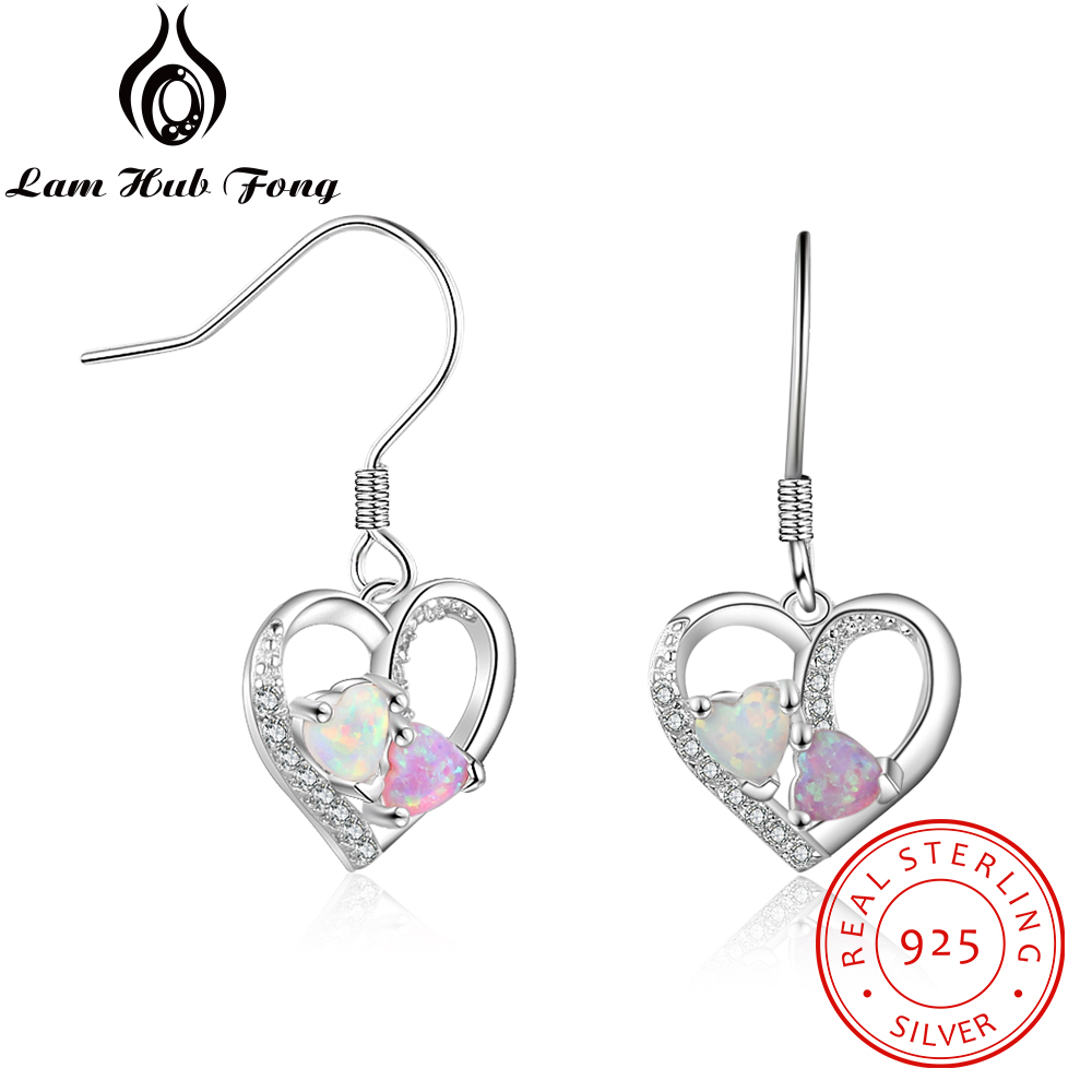 Romantic Sweet Heart Created White Pink Opal Earrings 925 Sterling Silver Dangle Drop Earrings Wedding Jewelry (Lam Hub Fong)