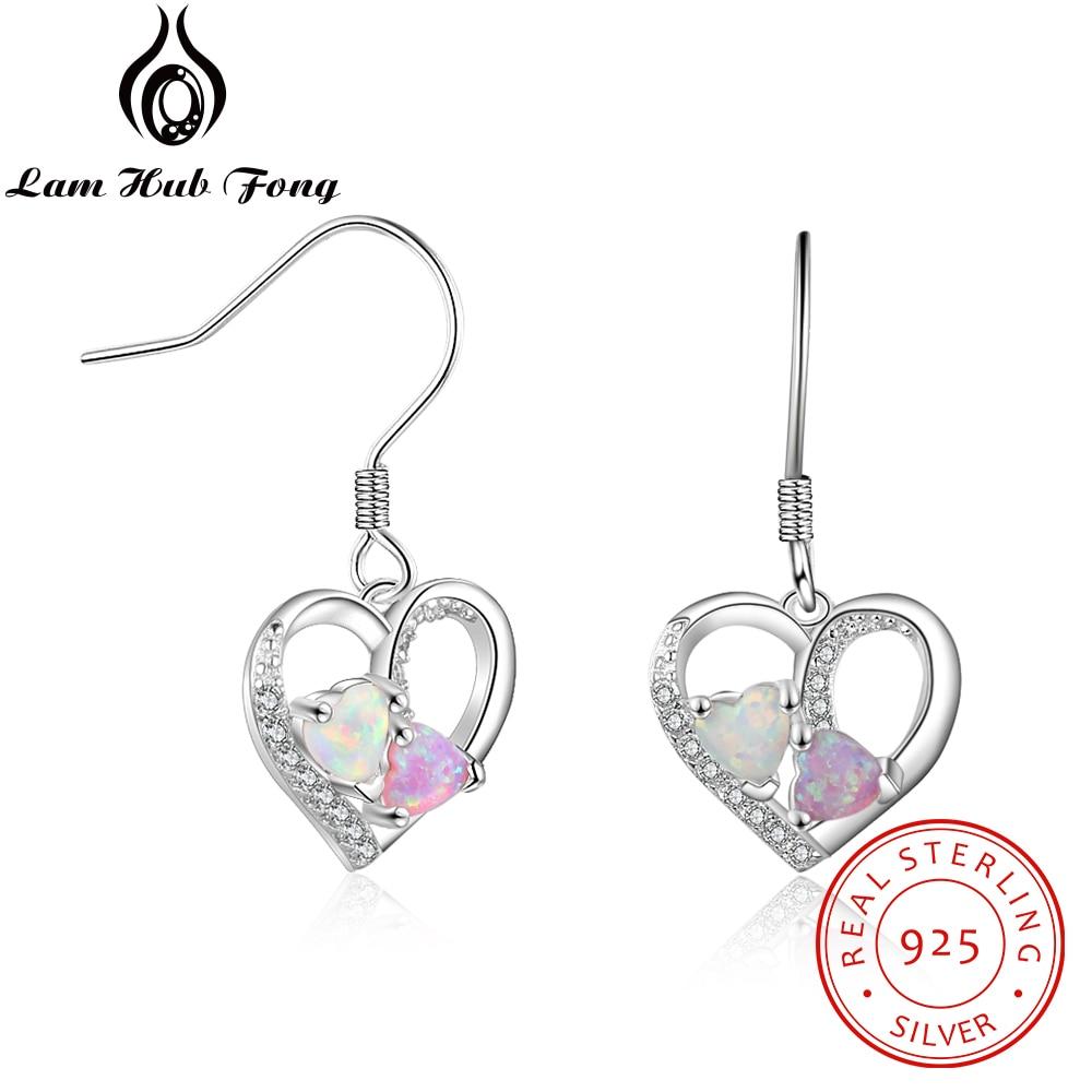 Romantic Sweet Heart Created White Pink Opal Earrings 925 Sterling Silver Dangle Drop Earrings Wedding Jewelry (Lam Hub Fong)