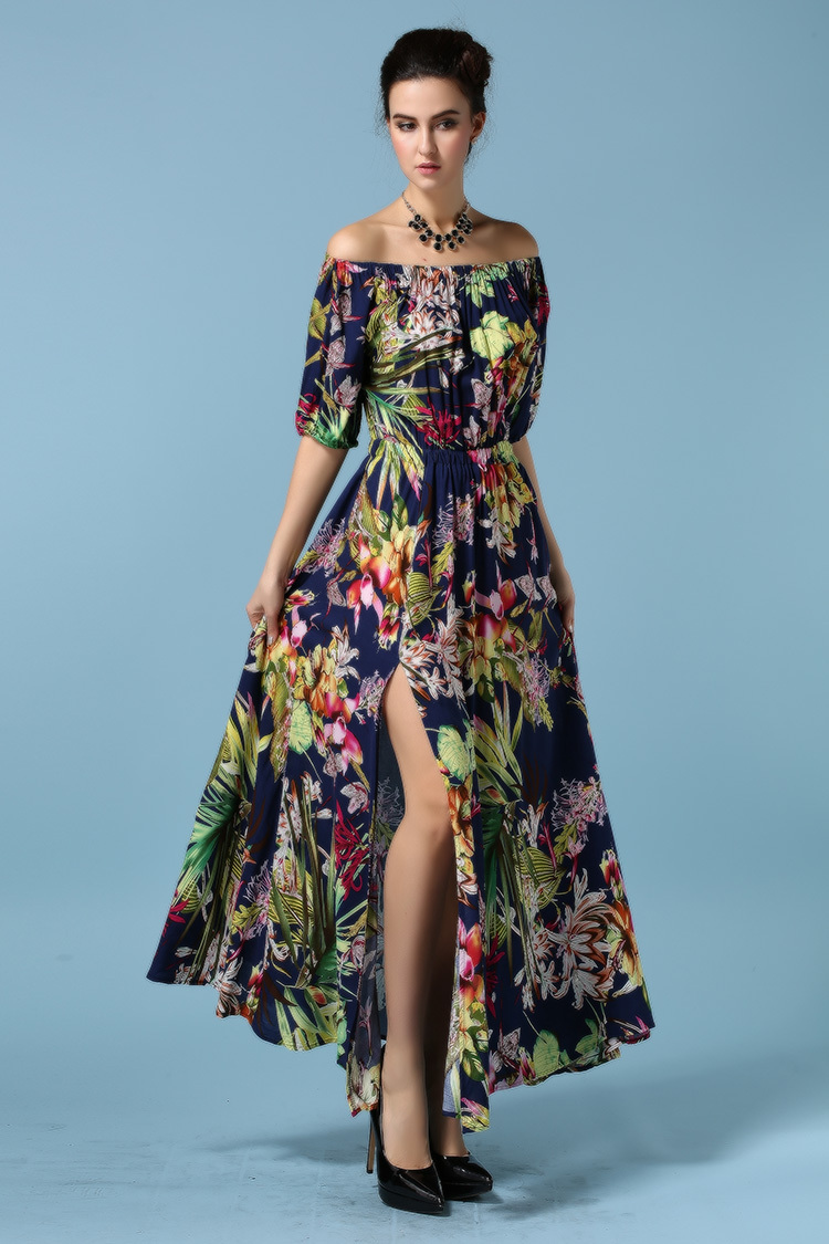 6b11f4ac9a1f Sexy Off Shoulder High Slit Maxi Long Dress Women Casual Short Sleeve  Elastic Waist Pleated Floral Print Chiffon Cotton Dress-in Dresses from  Women's ...