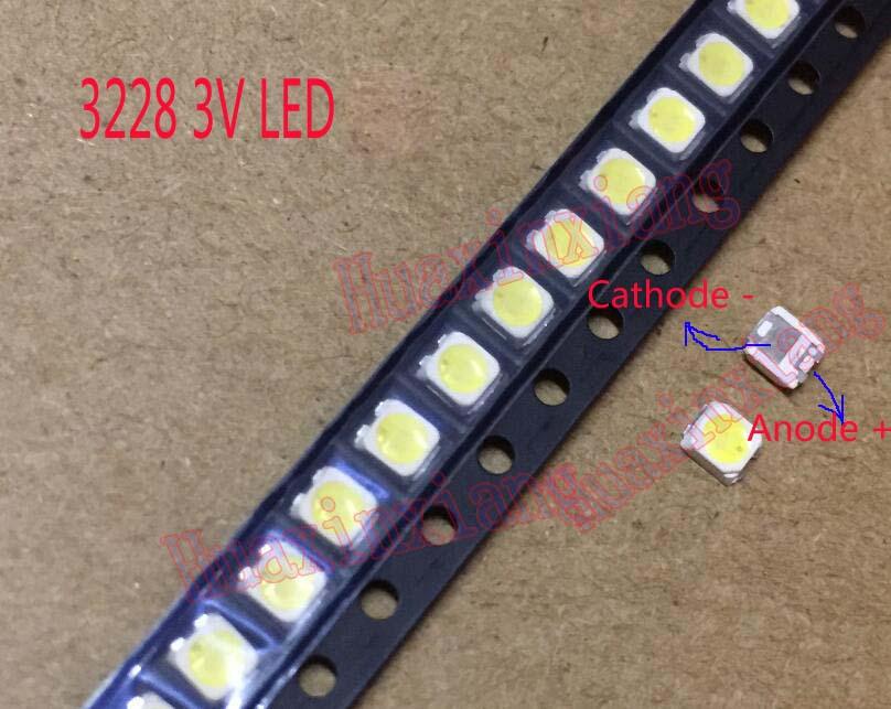 100pcs/Lot  SMD LED 3228 2828 3V 1W Cool White For TV Backlight