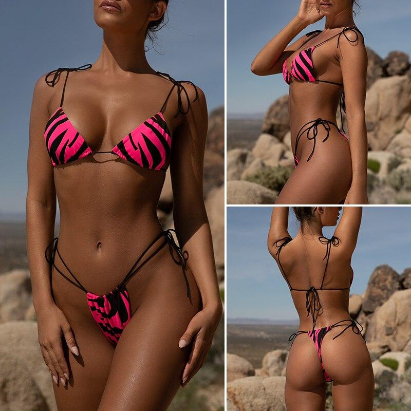 HTB1vlfUXL1H3KVjSZFHq6zKppXag Brazilian bikini thong Micro print bikini Neon swimwear women 2019 bathers Push up 3 piece swimsuit female string bathing suit