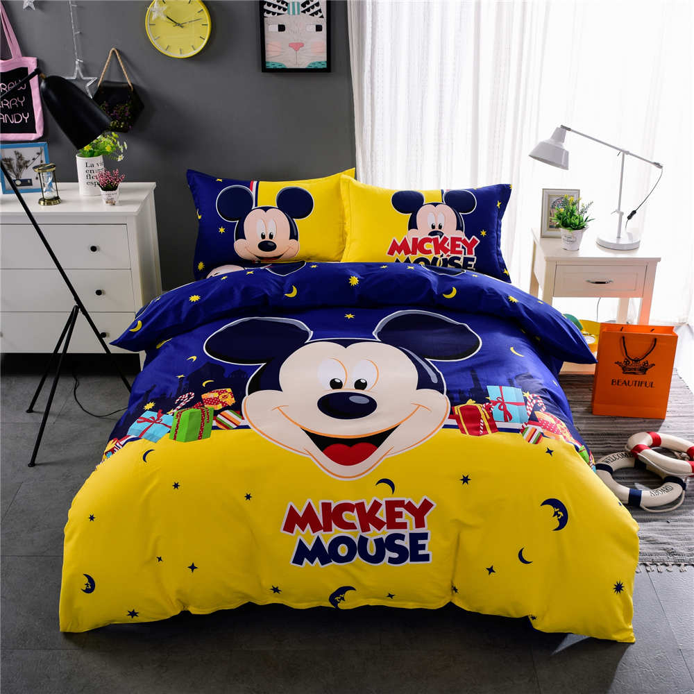 Baby bed quilt size - Yellow Blue Mickey Mouse Print Bedding Set Quilt Duvet Cover Bedspreads Children Baby Bed Twin