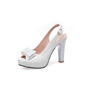 Image 5 - YMECHIC 2019 Летняя мода с бантом бабочкой с открытым носком туфли на ремешке женские белые свадебные туфли для невесты женские туфли лодочки для вечеривечерние