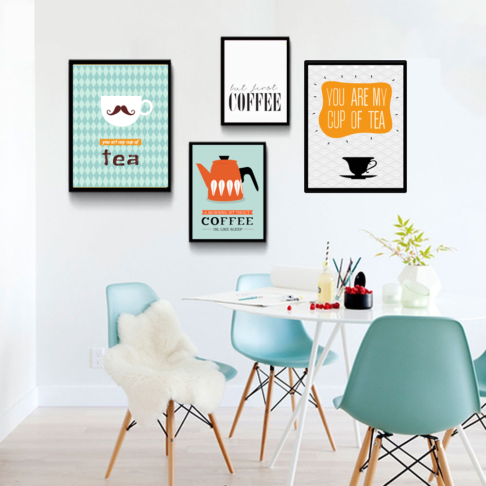 Cartoon Dining Room: Quotes Canvas Poster Cafe Cartoon Minimalist Art Canvas
