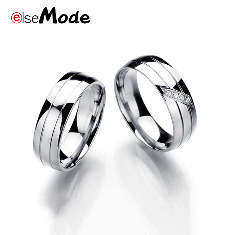 ELSEMODE High Quality Shining Cubic Zircon Lover's Engagement Rings Titanium 316L Stainless Steel Wedding Ring for Women Couple