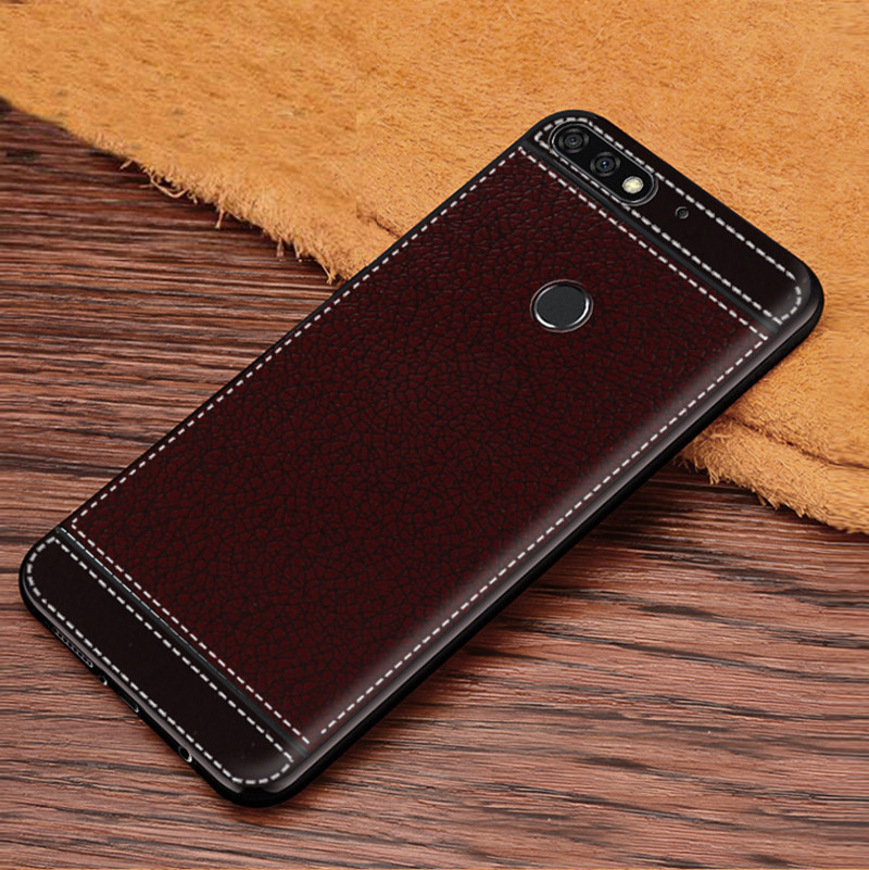 For Honor 7C AUM-L41 Russian Version 5.7inch Leather Texture Soft TPU Back Case For Huawei Honor 7C 7C Pro LND-L29 LND-AL30 5.99
