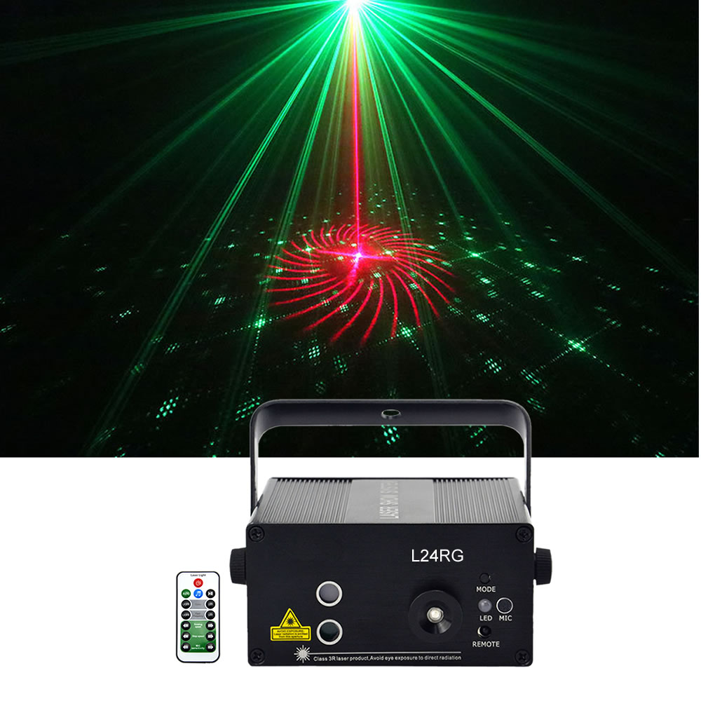 Sharelife Mini 24 Red Green Gobos DJ Laser Light Mixed Blue LED Remote Control Speed Home Gig Party Show Stage Lighting L24RGSharelife Mini 24 Red Green Gobos DJ Laser Light Mixed Blue LED Remote Control Speed Home Gig Party Show Stage Lighting L24RG