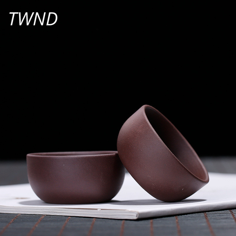 3 Pieces yixing tea cups set chinese kung fu tea mugs ore purple clay 30cc small simple zisha sand drinkware 8.7 taza de m&m
