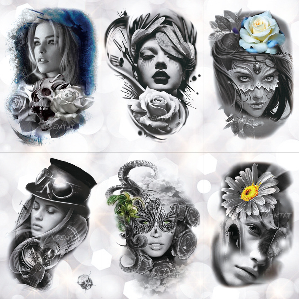 Máscara de plumas de encaje para chica tatuaje temporal pegatina Rosa calavera mala y hermosa impermeable tatuaje arte tatuaje falso para mujeres