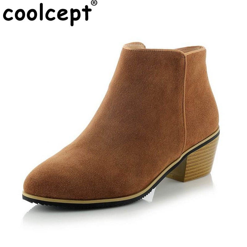 Coolcept women real genuine leather martin flat ankle boots half short botas autumn winter boot footwear shoes R7523 size 33-40 jady rose casual gray women ankle boots straps genuine leather short flat botas autumn winter female platform martin boot
