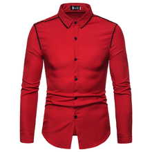 fashion flange desgin long sleeve shirts for men good quality casual dress clothes