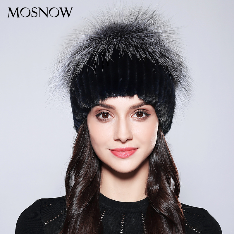 MOSNOW Women Caps Knitted  100% Real Mink Fur Wool Winter Hats 2017 High Quality New Ladies Flower Pompom Beanie Bonnet #PCM729 women s winter beanie hat wool knitted cap shining rhinestone beanie mink fur pompom hats for women