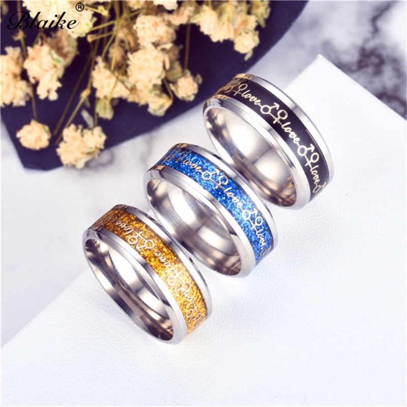 Blaike Vintage Black/Gold/สแตนเลสสตีล Love ตัวอักษรแหวนผู้หญิงผู้ชายคู่เครื่องประดับไทเทเนี่ยมไทเทเนียมแฟชั่นแหวนของขวัญ