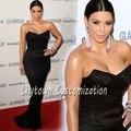 Hot Custom Made Kim Kardashian Vestido de París Semana de La Moda de Diseñador Red Carpet Encaje Celebridad Vestidos Sirena Envío de la Cosechadora