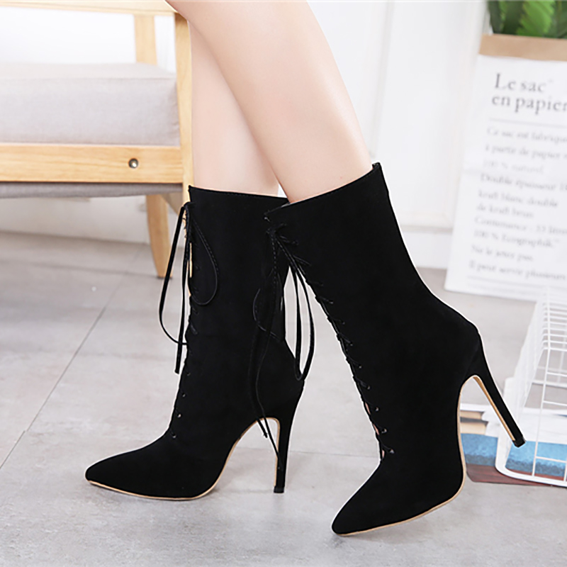 Black Cm 11 Talons Chaussures Stiletto Dentelle Femelle Heel Bottes Noir Troupeau D'hiver Haute Mode Mi 11cm mollet Femmes Up Dames BoCxEdeWQr