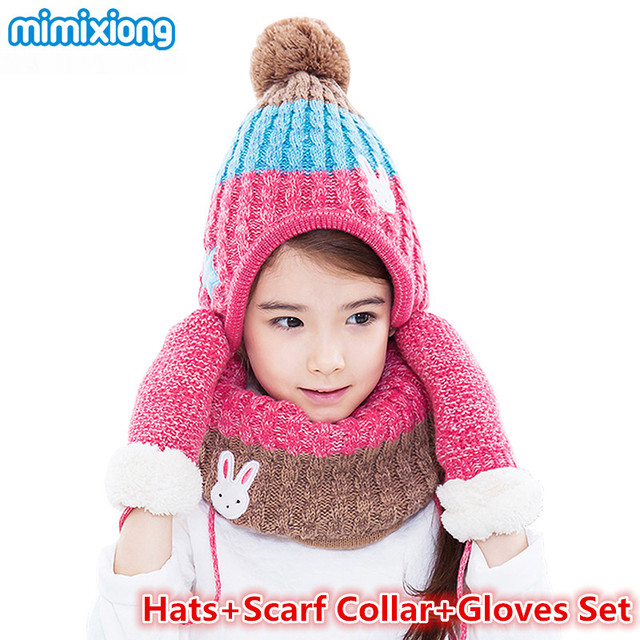 Children Winter Hat Scarf Gloves Set for Girls and Boys Knitted Beanies  Caps Neck Warmer Mittens Suits 3pc Autumn Kids Accessory 728a41b1114