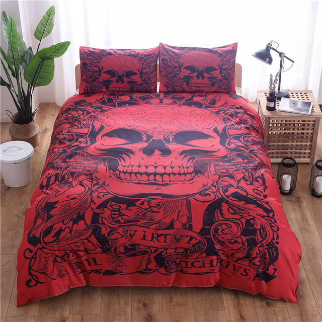 Red Skull Printed Duvet Cover Set 2 3pcs Single Double Queen King Bedclothes Bed Linen